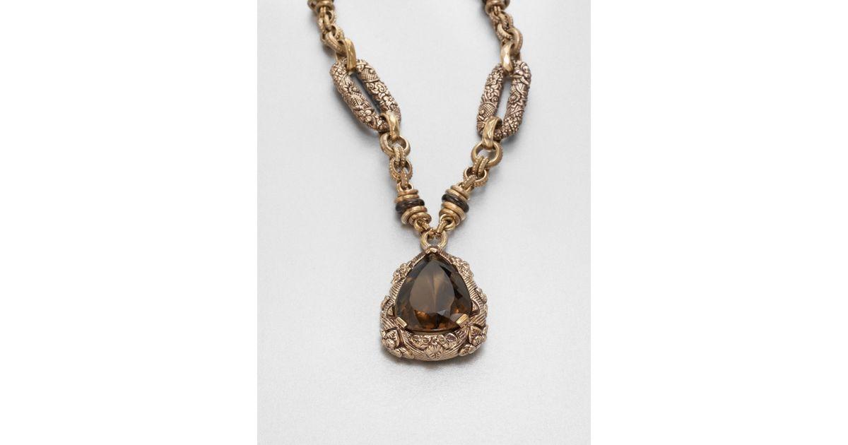 Lyst stephen dweck smoky quartz pendant necklace in metallic aloadofball Image collections