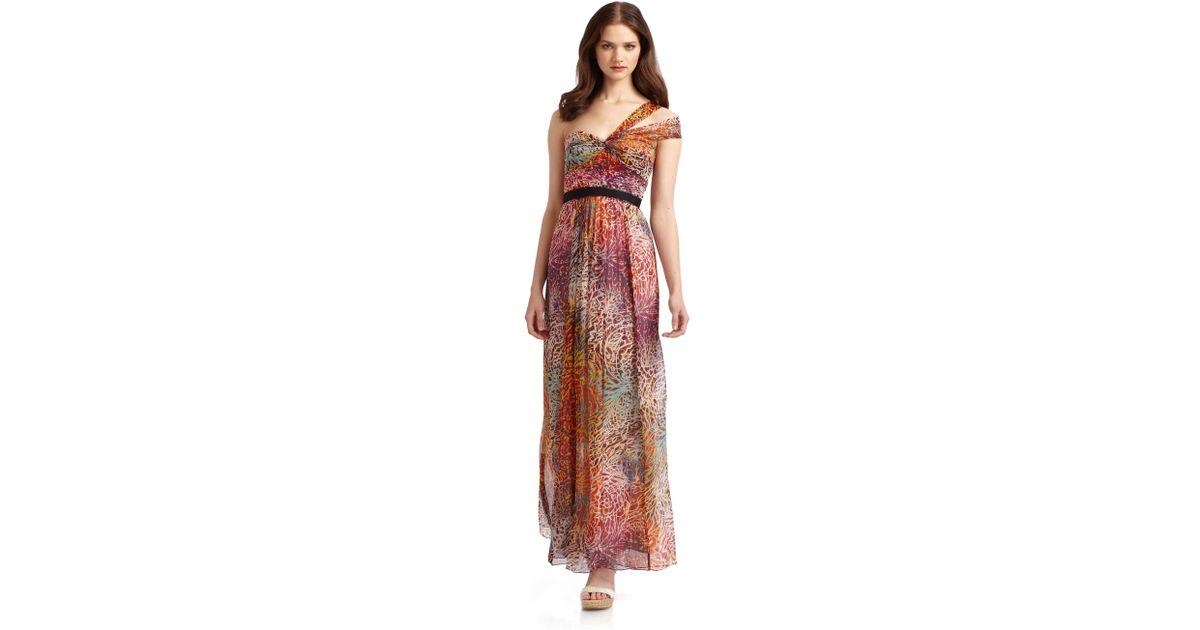 35f5911a57f7 BCBGMAXAZRIA Chiffon Printed Oneshoulder Maxi Dress - Lyst