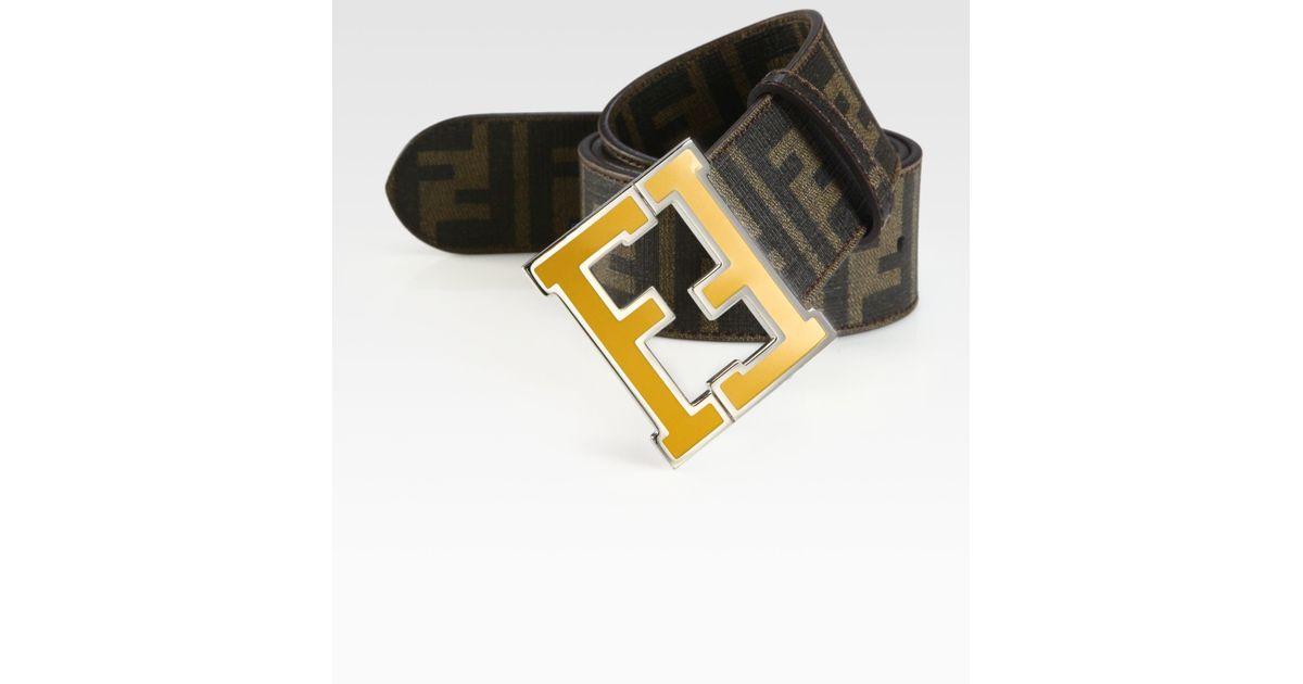 77183a1115d3 ... cheapest lyst fendi logo college belt in brown for men 0cdf1 18b4e