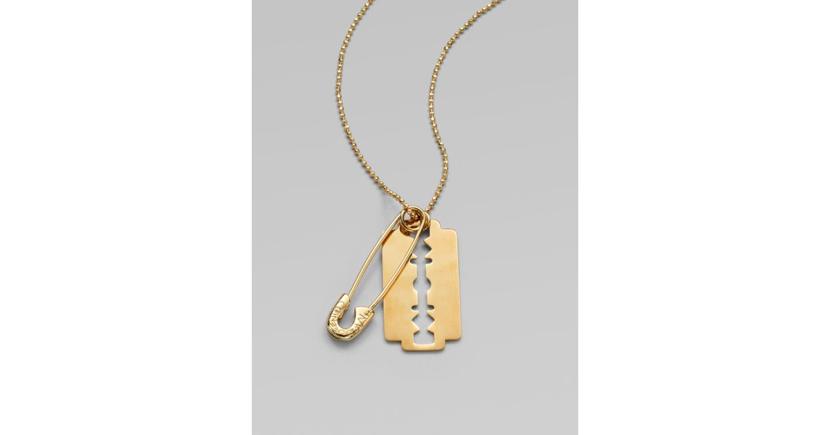 Lyst mcq razor blade pendant necklace in metallic thecheapjerseys Choice Image