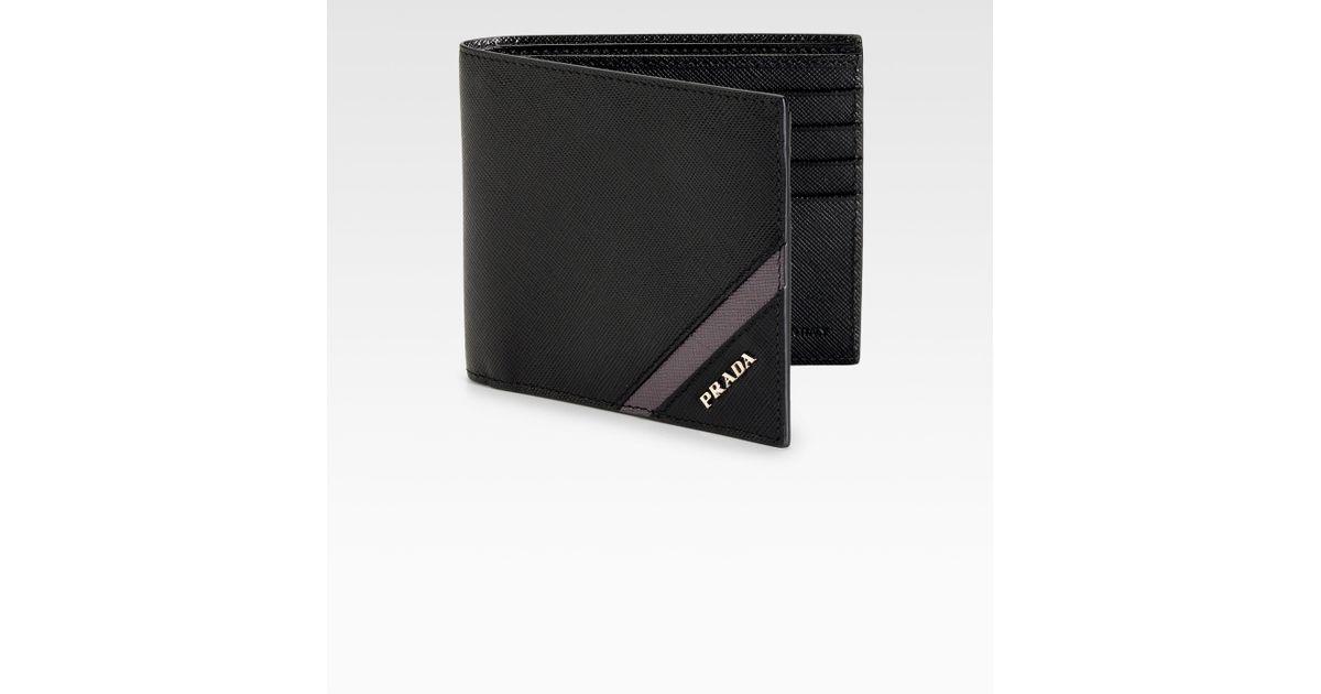 0a1d74c1 Prada Black Saffiano Stripe Bifold Wallet for men