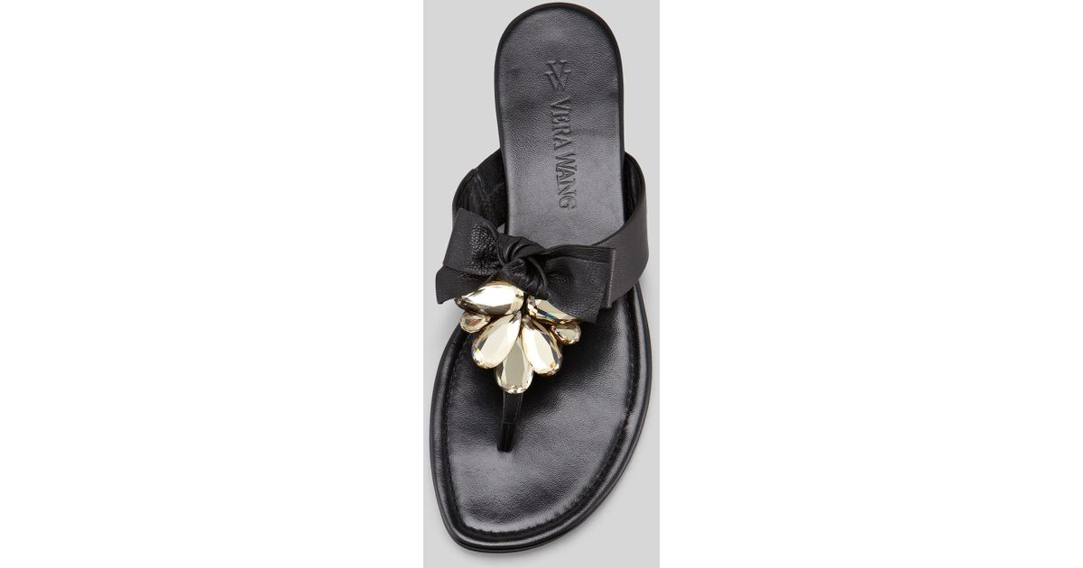 3ad0919a20d7 Lyst - Vera Wang Lavender Jeweled Bow Thong Sandal Black in Black