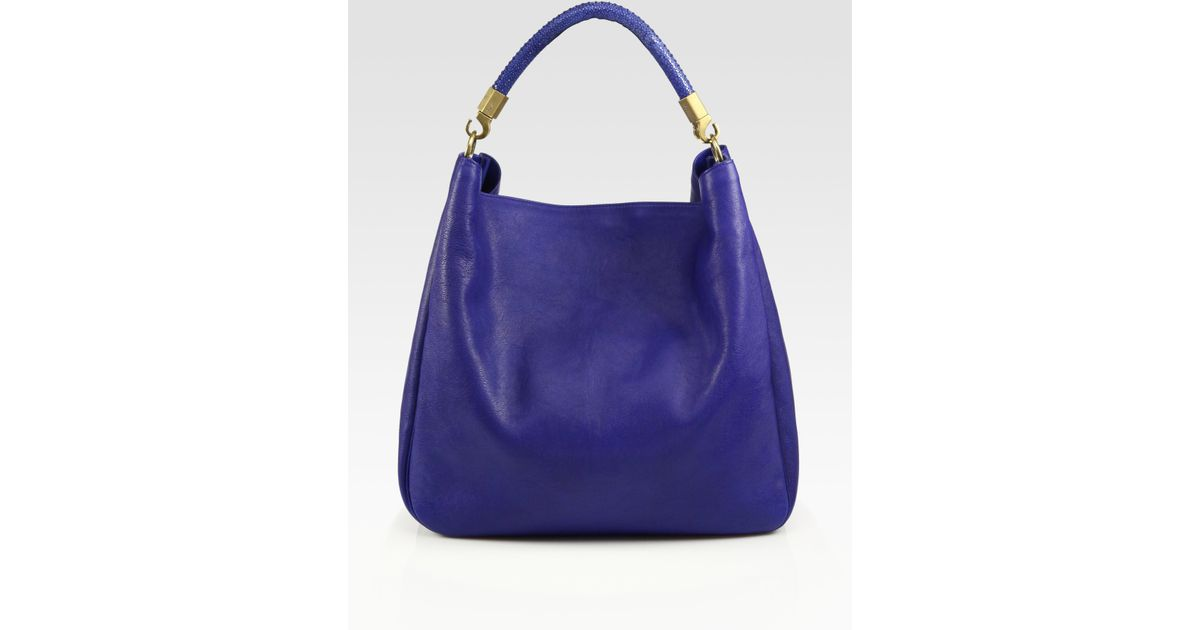 2d87e6f220ef Lyst - Saint Laurent Ysl Large Leather Roady Hobo Bag in Blue