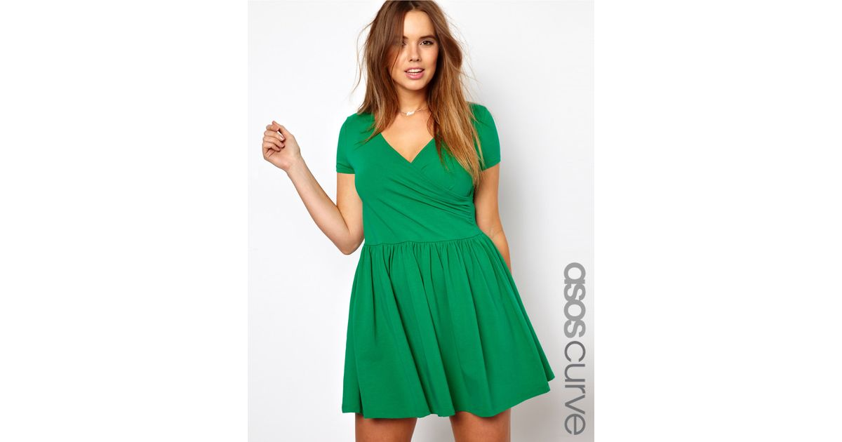 9a7c98eec6 Lyst - ASOS Curve Exclusive Skater Dress with Ballet Wrap and Short Sleeve  in Green