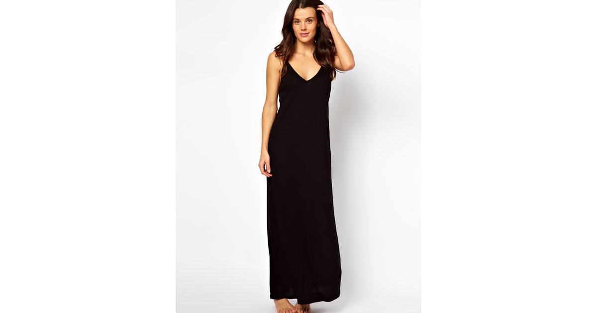 Lyst - Asos Macrame Back Maxi Beach Dress in Black