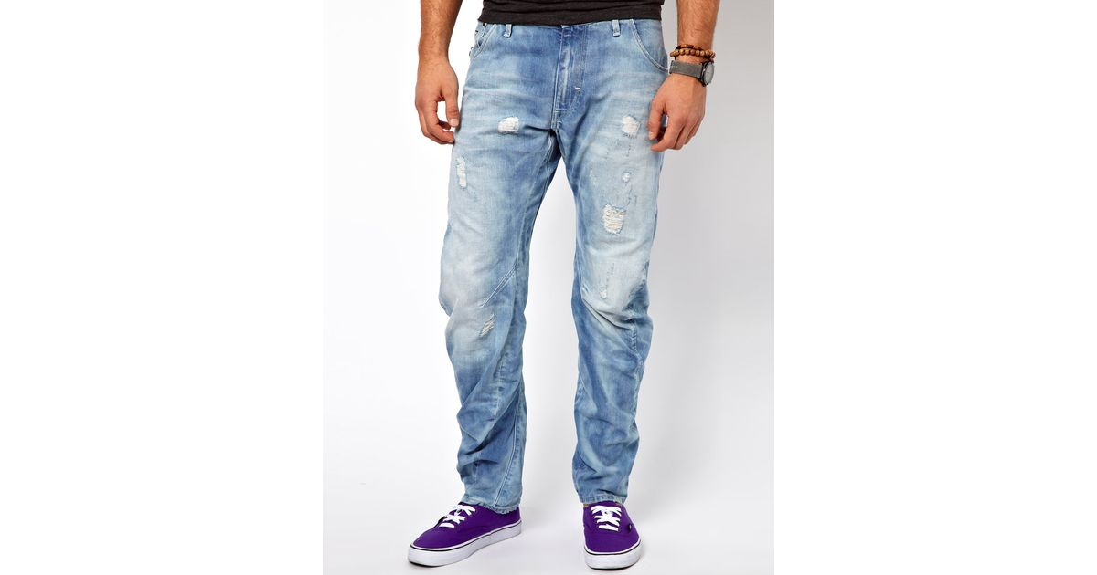 092efb6ce12 G-Star RAW Jeans Arc 3d Loose Tapered Lt Aged Destroy in Blue for Men - Lyst