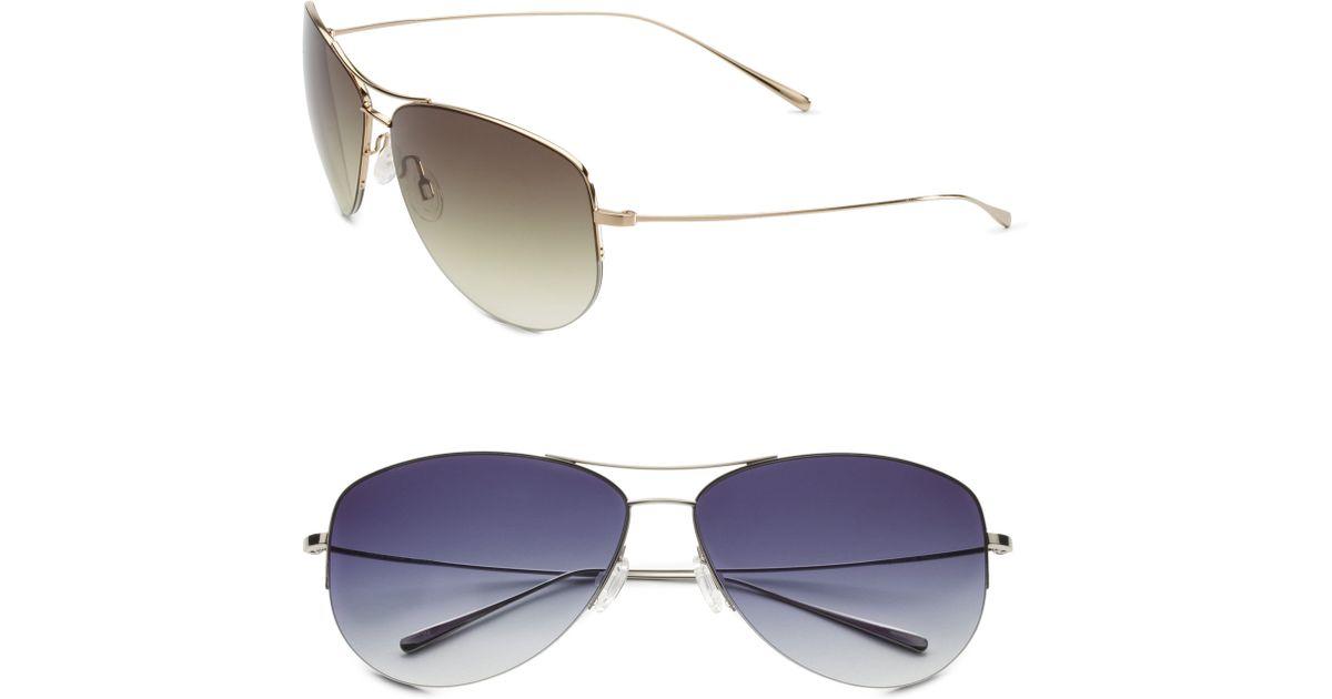 f70ae386c1e08 Oliver Peoples Strummer Titanium Aviator Sunglasses in Metallic - Lyst