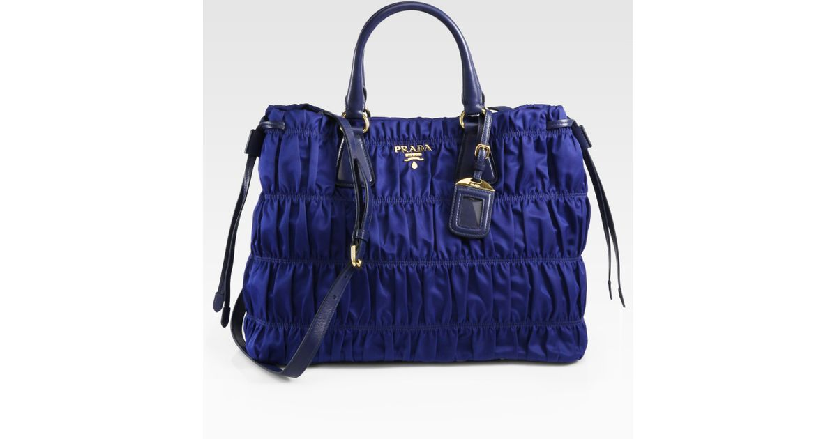 7faed8b69756 Prada Tessuto Gaufre Tote Bag in Blue - Lyst