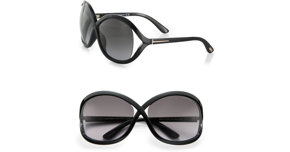 37dc547f80eed Tom Ford Sandra 62Mm Oversized Crossover Round Sunglasses in Black - Lyst