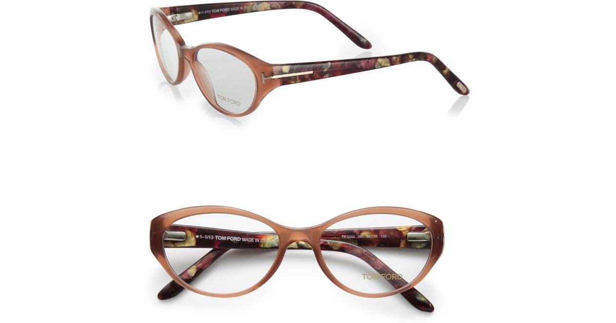 5a4b179d936 Tom Ford Oval Reading Glasses in Brown - Lyst