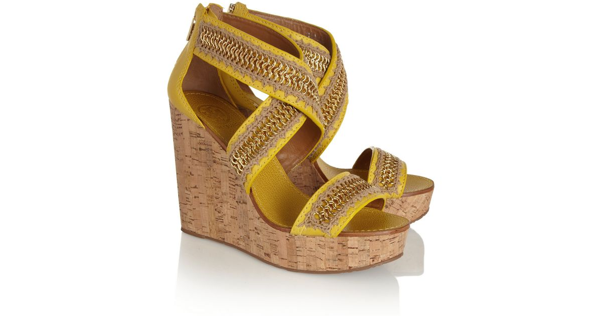 76767637568 Lyst - Tory Burch Lucian Leather and Cork Wedge Sandals in Yellow