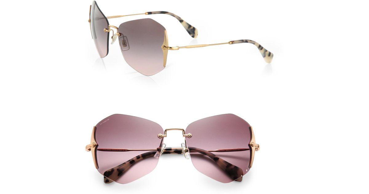 9ce79598a55 Lyst - Miu Miu Irregular Rimless Sunglasses in Purple