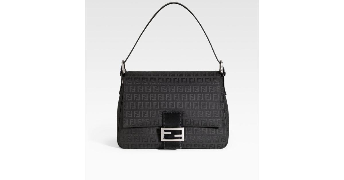 3e5b57c3cc76 ... discount lyst fendi zucchino mamma forever baguette shoulder bag in  black db15b a415f