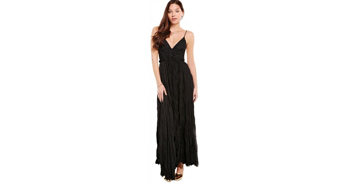 Lyst Akira Black Label Backless Lace Bust Crinkle Maxi Dress In Black