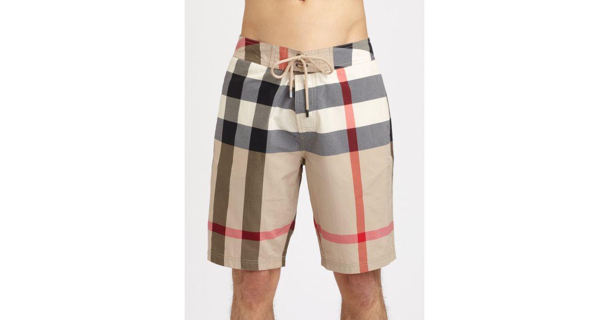 f4a038546a Burberry Brit Laguna Check Swim Trunks in Brown for Men - Lyst