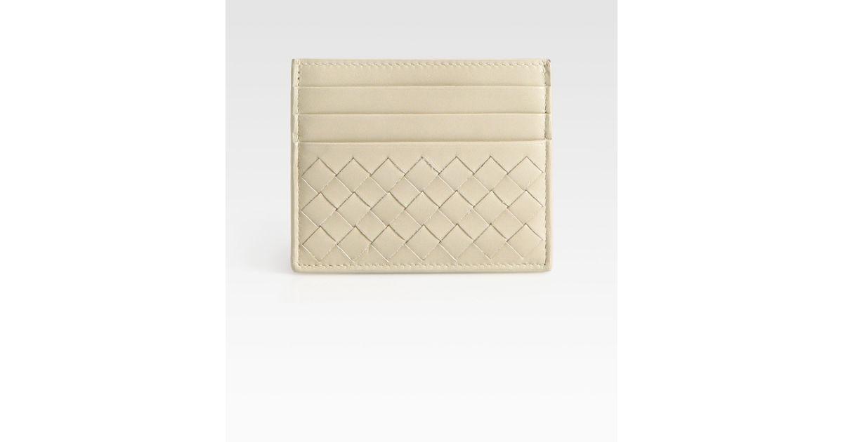 e6a0ed332eb59 Lyst - Bottega Veneta Woven Flat Card Case in Natural for Men