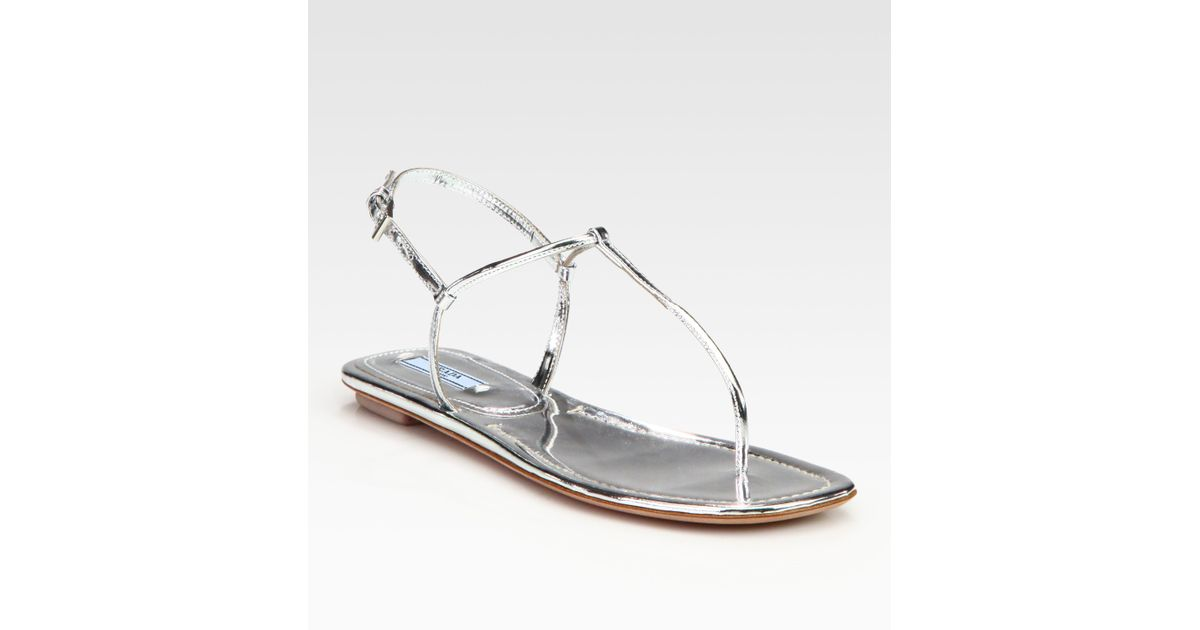 95cf98aaab1 Lyst - Prada Metallic Leather Thong Flat Sandals in Metallic
