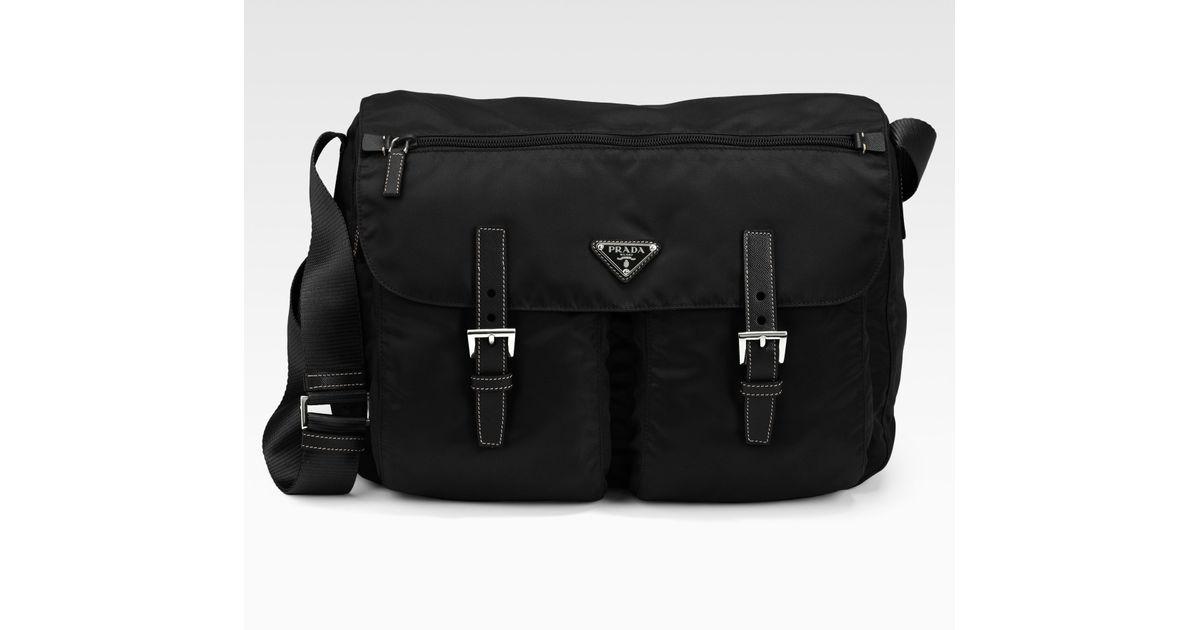 88ab6f958f15 Prada Vela Two-pocket Messenger Bag in Black for Men - Lyst