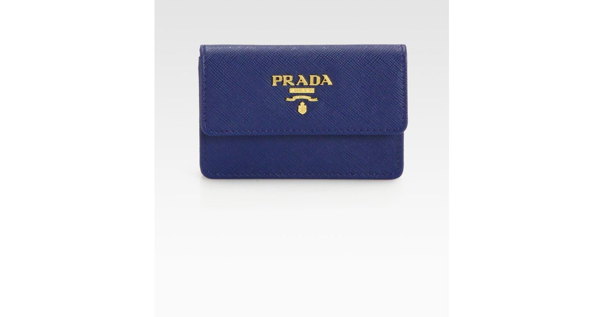 Prada Saffiano Lux Flap Card Case in Blue (bluette-blue)   Lyst