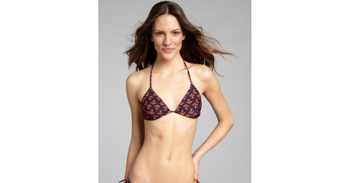 c07edd36dcf9d Lyst - Shoshanna Navy and Orange Anchors Away Print Nylonblend Triangle  Bikini Top in Brown