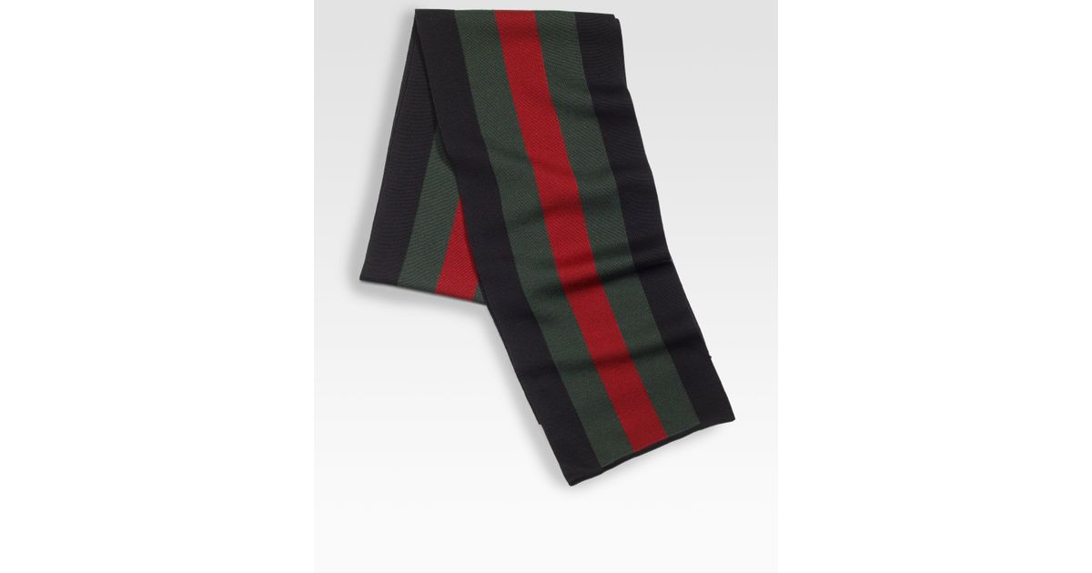 7db21955 Gucci Green Webdetailed Crook Scarf for men