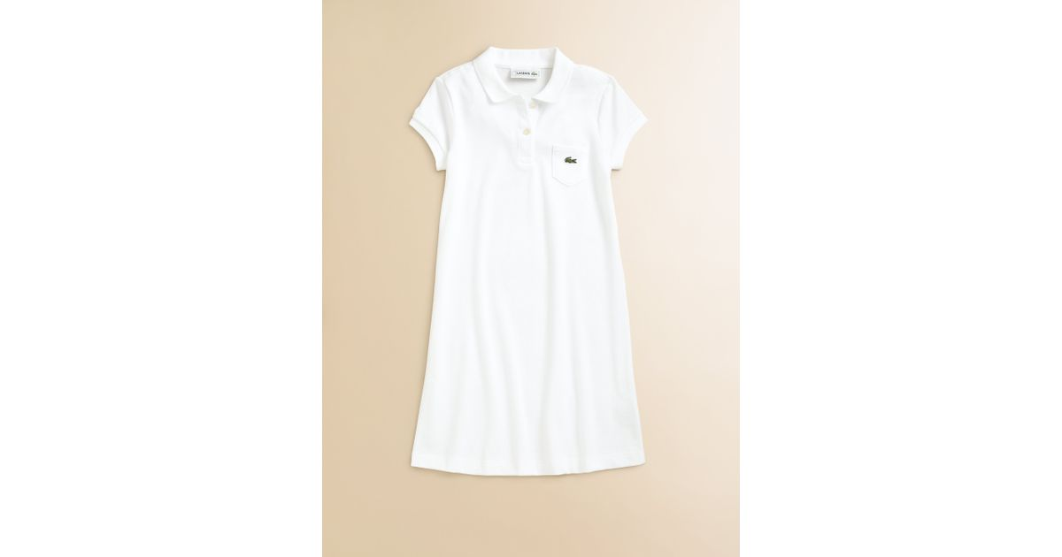 e4216315309608 Lyst - Lacoste Girls Pique Polo Dress in White