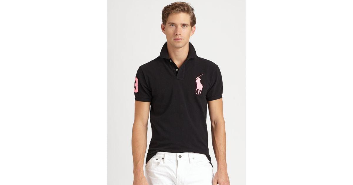 3be77651 Polo ralph lauren Custom Fit Short Sleeved Big Pony Mesh Polo in Black for  Men