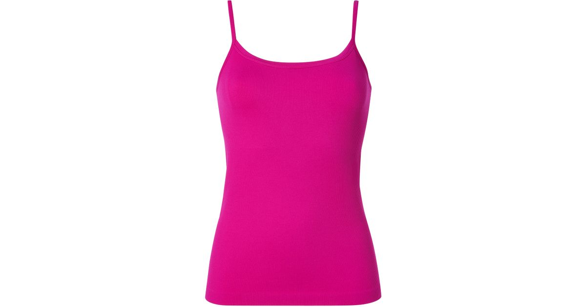 efeeee6d07 Lyst - Spanx Ribbed Cami with Shelf Bra in Vivacious Pink in Pink