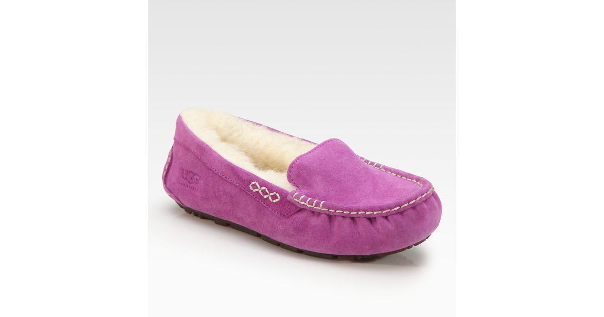 6be713cebd6 UGG Pink Ansley Suede Uggpure Moccasin Slippers