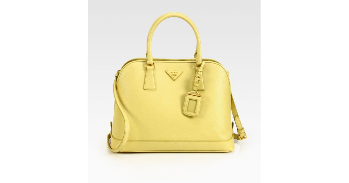 19a38041c270b4 Prada Saffiano Promenade Open Top Handle Bag in Yellow - Lyst