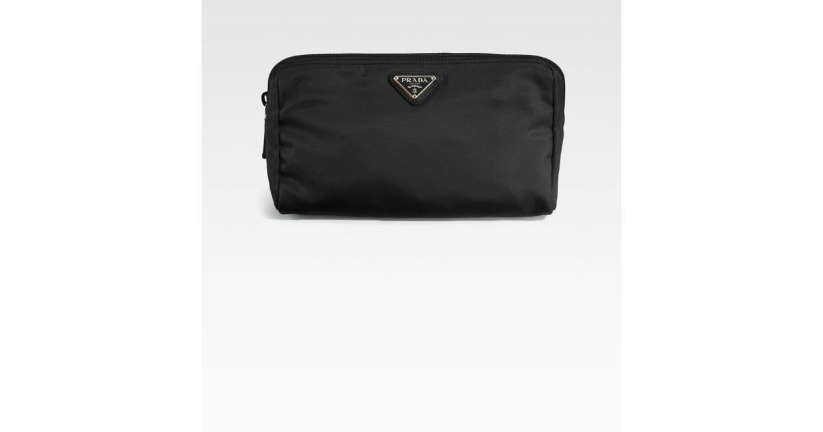 prada saffiano leather wallet pink - Prada Nylon Triangle Cosmetic Bag in Black | Lyst