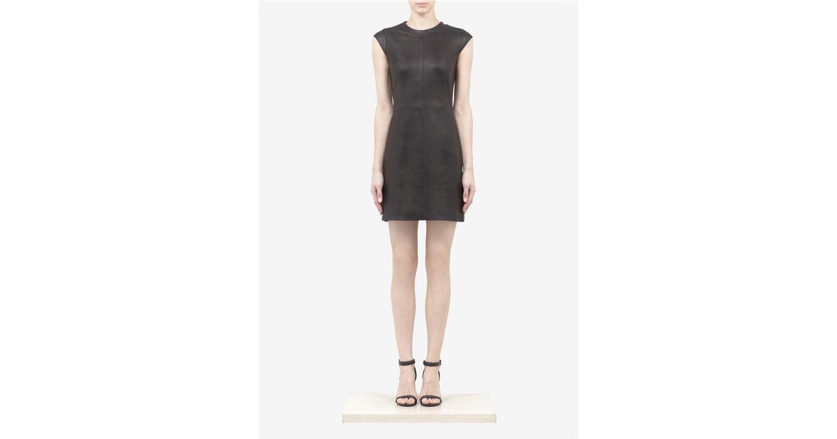 b7358e7639f8 Theory - Black Orinthia Leather Dress - Lyst