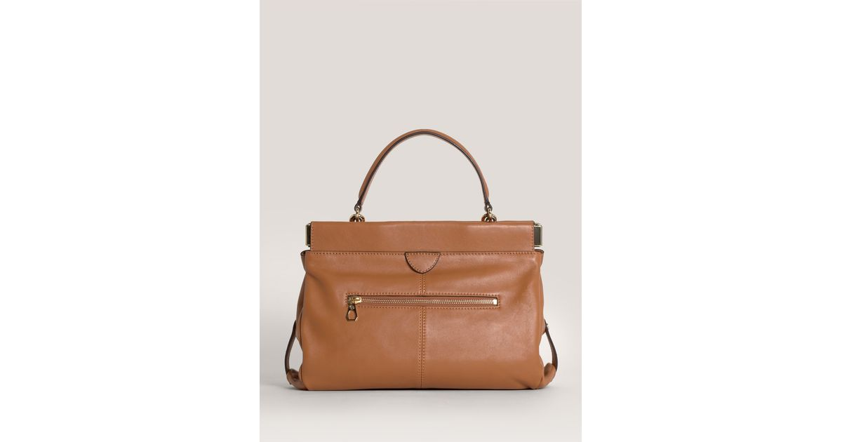 df4352bddb62 Lyst - Tory Burch Priscilla Small Frame Satchel in Brown