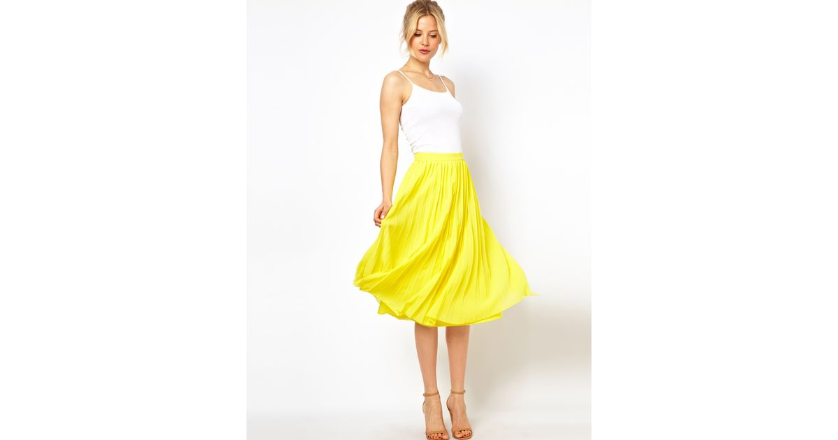 Asos Midi Skirt With Pleats in Yellow | Lyst