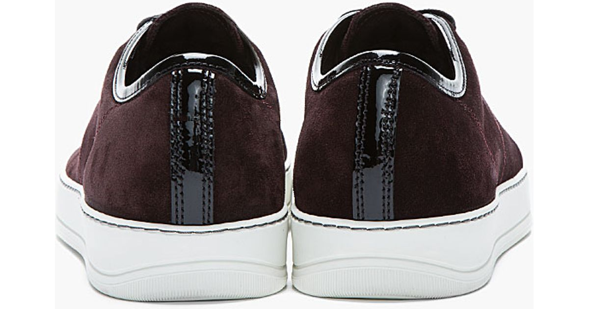 Men in Burgundy Tennis Lanvin Shoes Lyst for Red Patent and Suede rWeCxBoQd