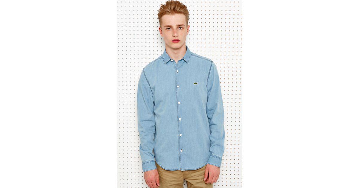 1afee25986 Lacoste Blue Lacoste Live Bleached Denim Shirt for men