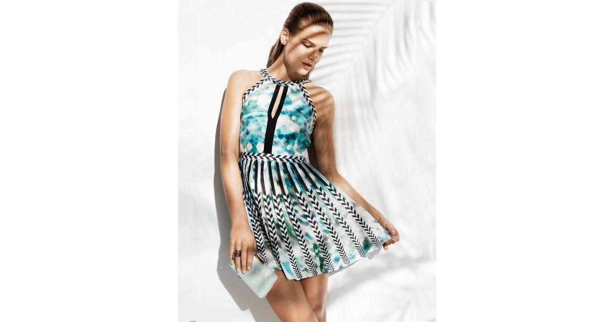Lyst - Parker Selita Pleated Keyhole Dress in Blue 49765fa52