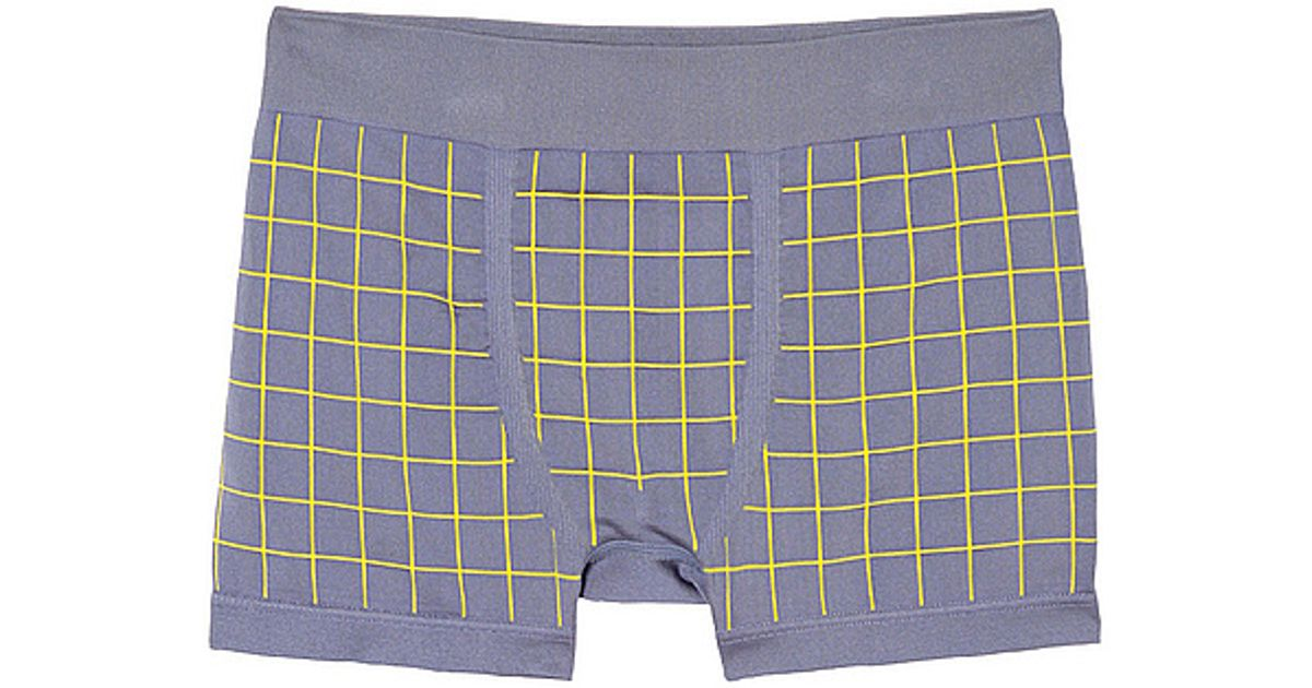 acde7f2d0120 Lyst - Uniqlo Seamless Check Low Rise Boxer Briefs in Blue for Men
