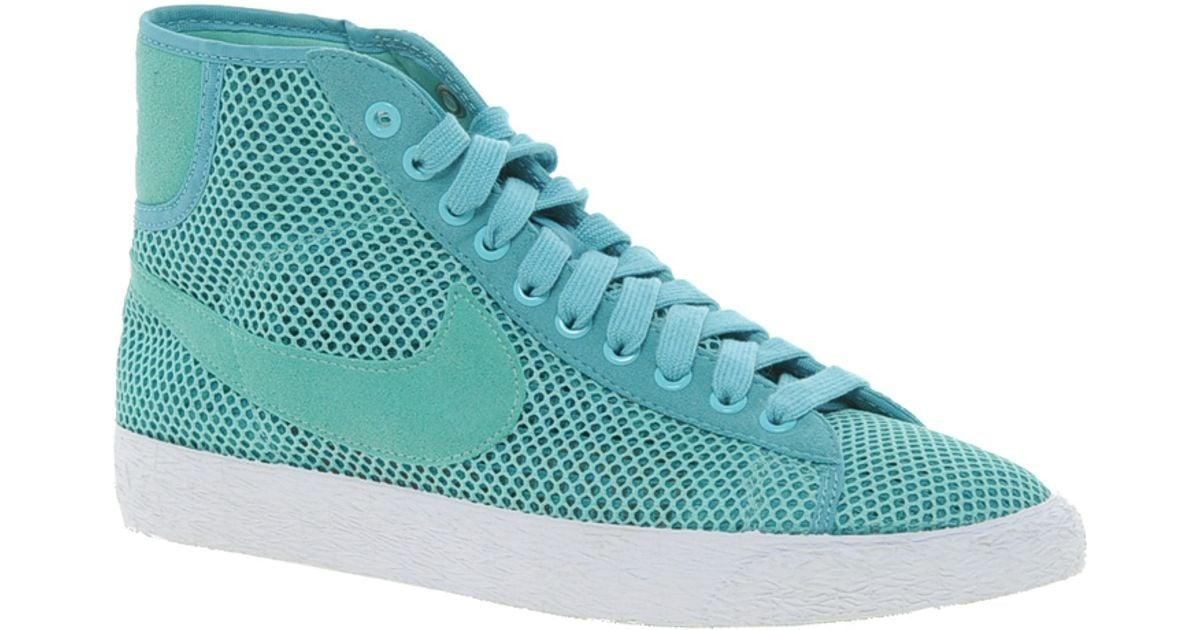 Nike Blazer Mid Maille Turquoise Baskets Hautes Pour Les Hommes