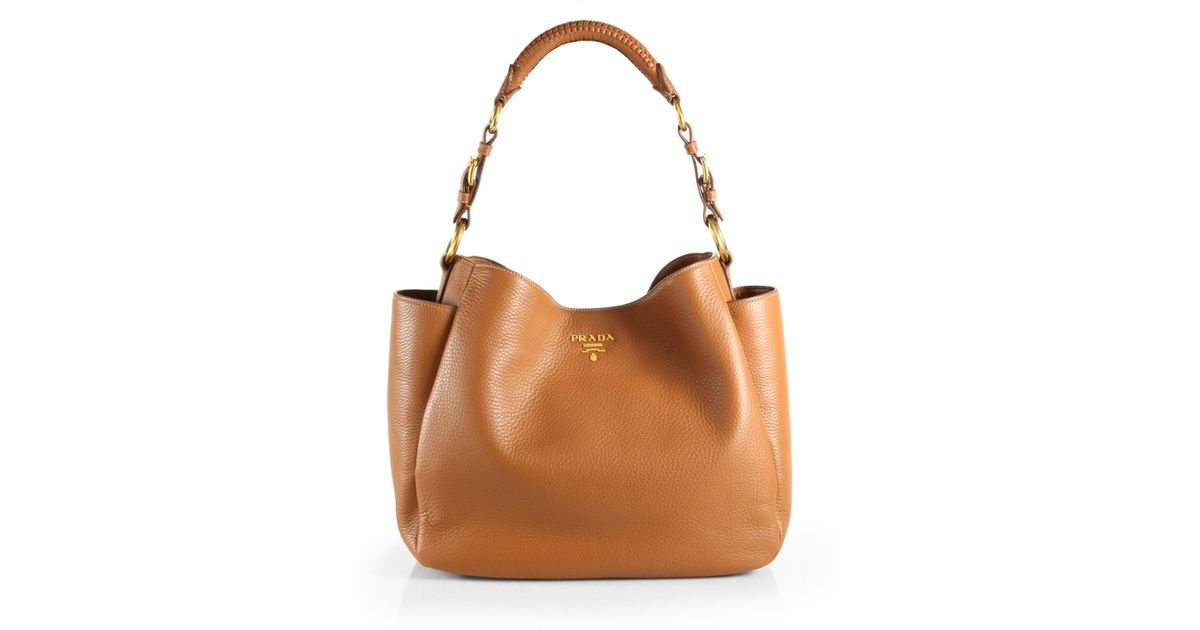 aef684fd6dd6 Lyst - Prada Vitello Daino Hobo Bag in Brown