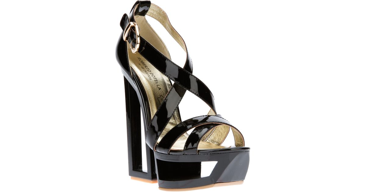 5bf7b993e4109 Lyst - Roberto Botella Sculpted Wedge Strappy Sandal in Black