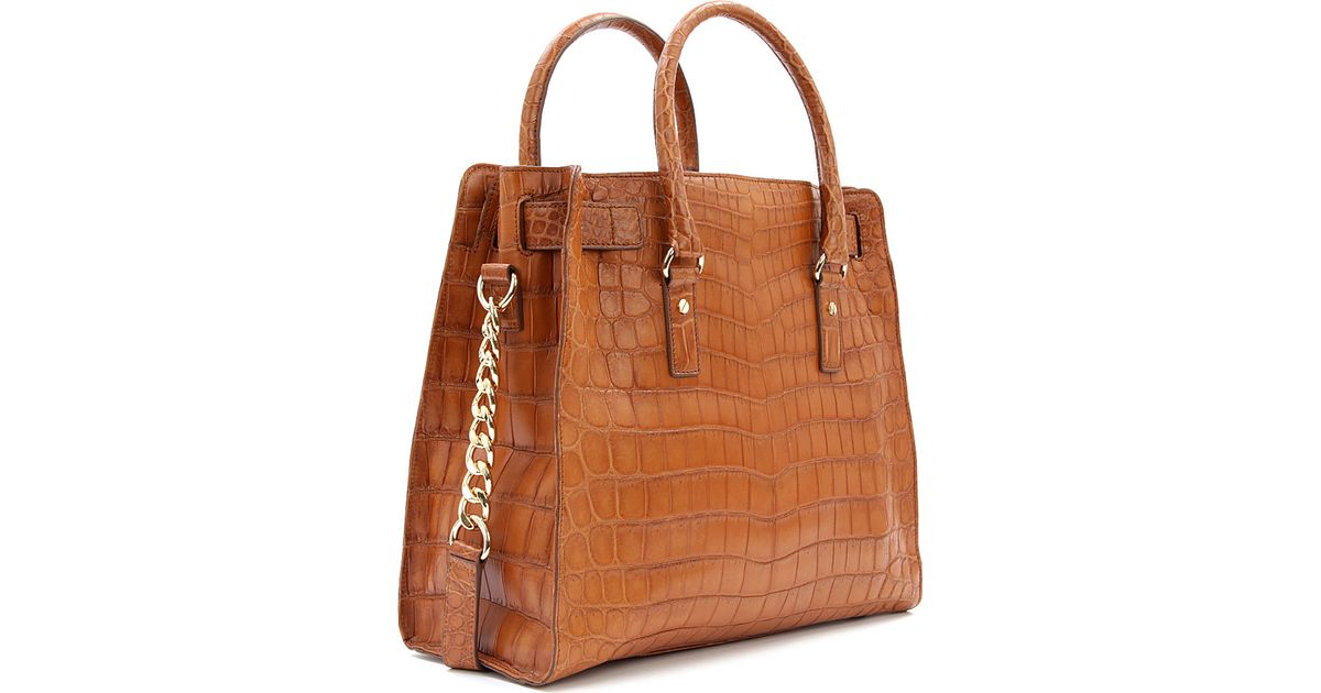 d08adb9d94f1ee Michael Kors Limited Edition Hamilton Croc Leather Tote in Brown - Lyst
