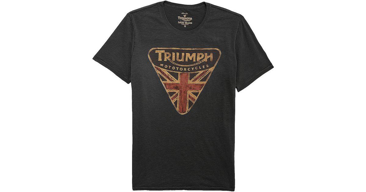 Lucky Brand Triumph Badge Tshirt In Black For Men Lyst