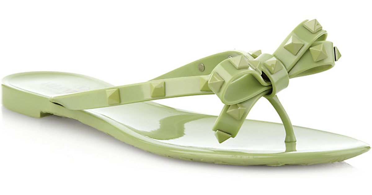 valentino rockstud flip flops in green lyst. Black Bedroom Furniture Sets. Home Design Ideas