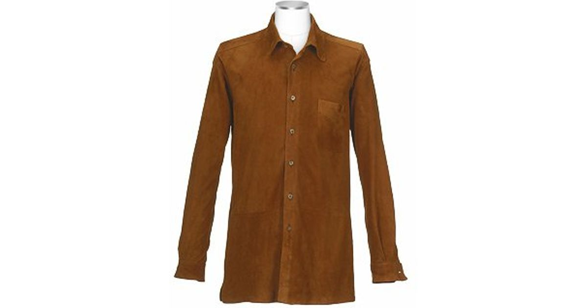 Forzieri Men S Brown Italian Suede Leather Shirt Jacket