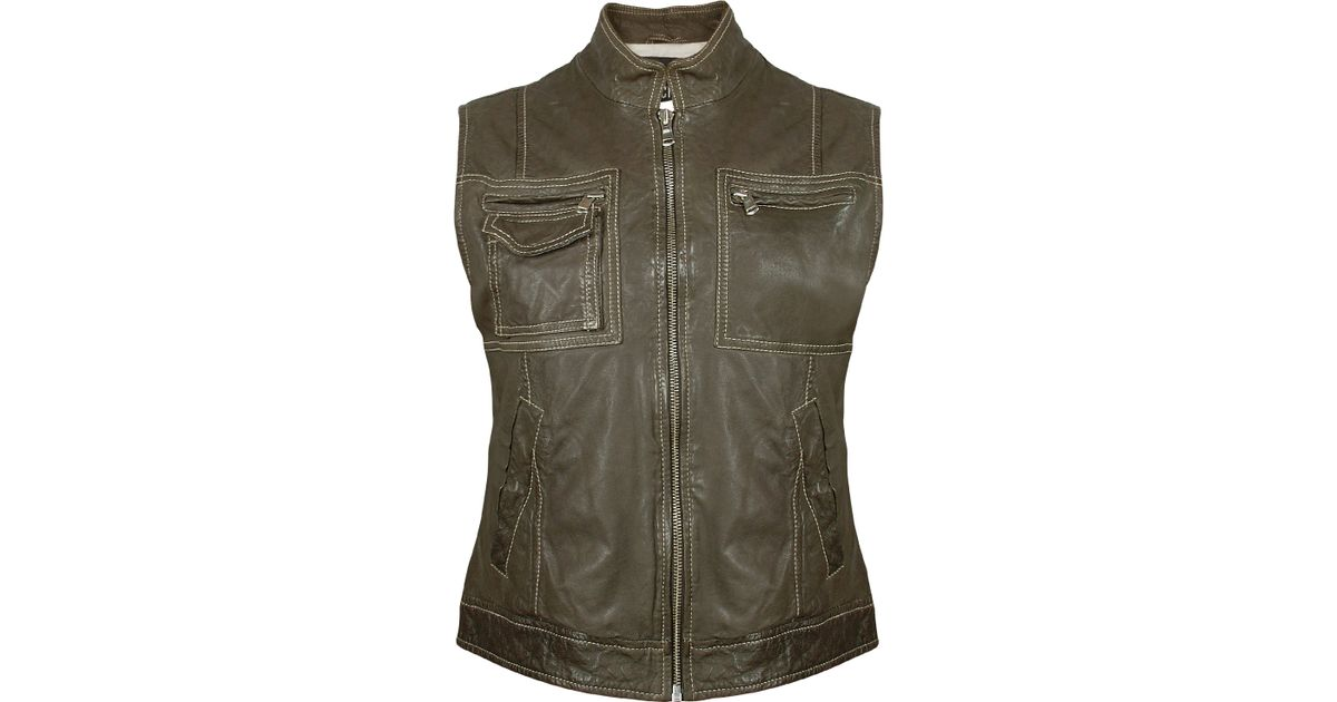 Forzieri Women S Dark Green Washed Leather Vest In Green Lyst