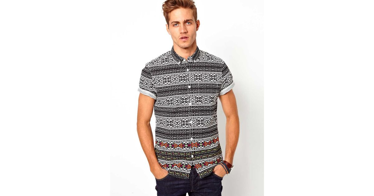 0592e15d River Island Shirt with Tribal Print in Black for Men - Lyst