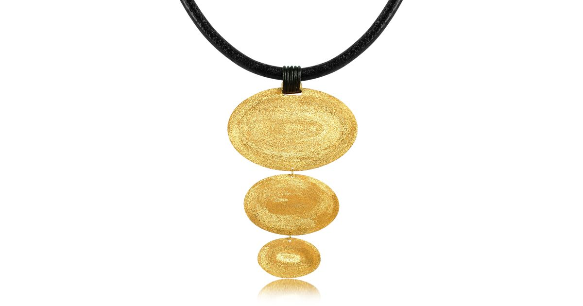 Stefano Patriarchi Gold Plated Triple Oval Necklace With Leather u3HuOgRcg