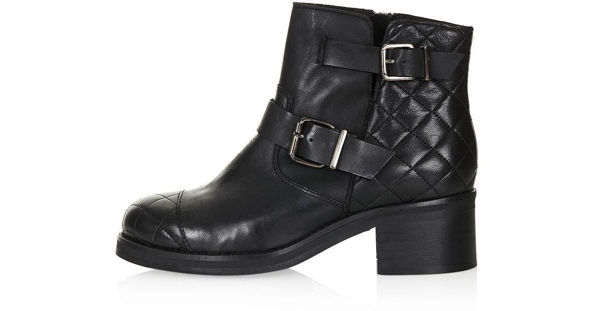 Topshop Quilted Biker Boots in Black | Lyst : quilted biker boots - Adamdwight.com