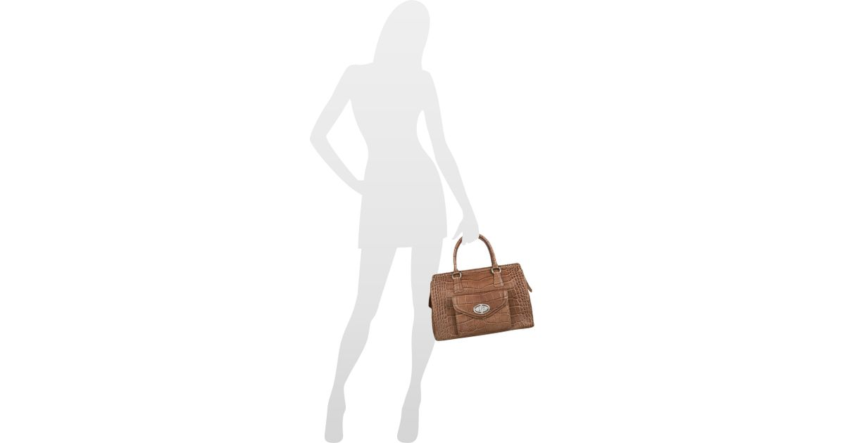Buti Front Pocket Brown Croco Stamped Leather Satchel Bag In Lyst